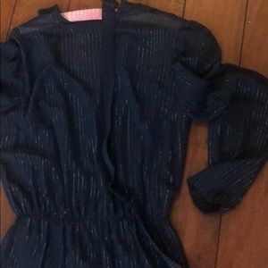 Vintage with belt, navy dress with silver stripes